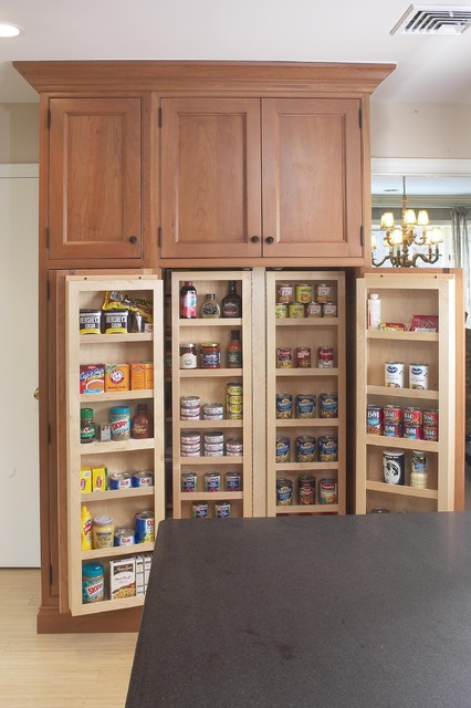 Wooden Pantry Cupboards ~ Interior of large pantry cabinet eclectic kitchen