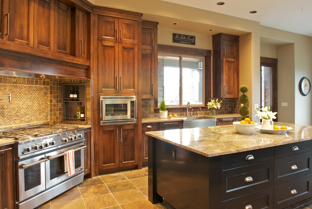 Marvelous Traditional Kitchen Idea In Portland With Granite Countertops And Slate  Backsplash