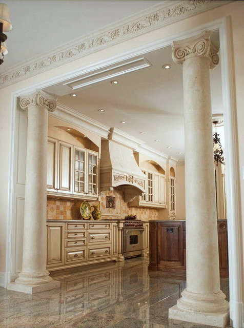 Ionic Marble Columns In Kitchen Traditional