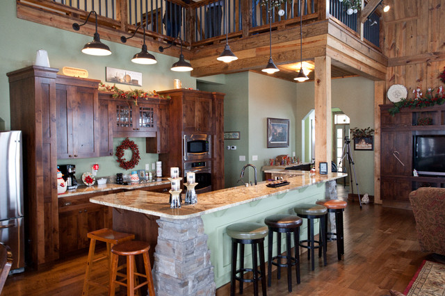 Iowa Gambrel Barn Home Traditional Kitchen