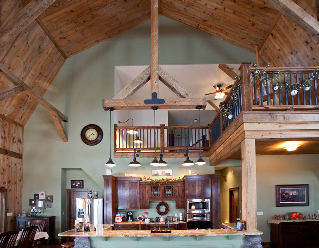 Farmhouse Living Rooms together with Thunder Lake Entry Rustic Porch Minneapolis also Conventional Post And Beam Craftsman Garage And Shed Other Metro together with Timber Frame Kitchen Rustic Kitchen Denver as well Spanish Colonial Rectangular Dining Table Medium. on rustic post and beam living room