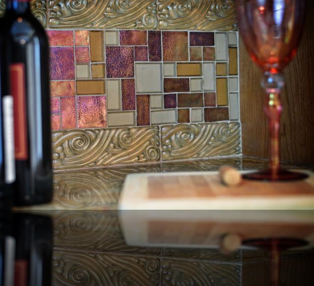 iridescent glass tile backsplash eclectic kitchen