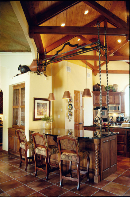 Ironwork for bar pendant lighting traditional-kitchen