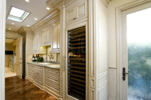 Love the built in of the large wine cooler