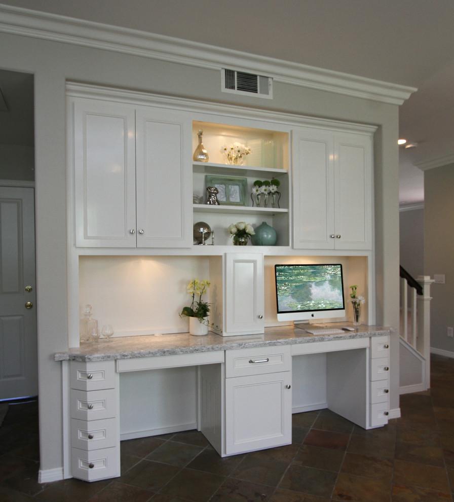 Irvine: White Kitchen with Built-in Desk - Transitional - Kitchen