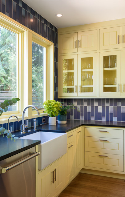Cheerful Yellow And Blue Kitchen For Book Lovers