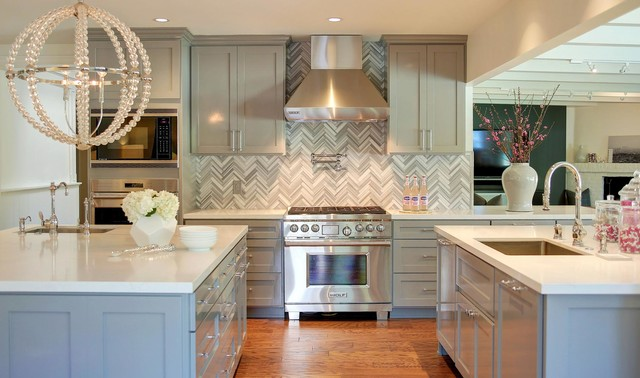 Superb ISD Project Herringbone Backsplash From Asher Grey Marble Contemporary  Kitchen