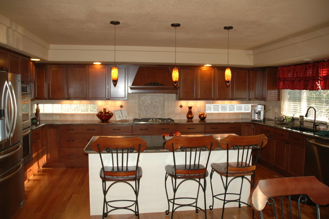 Neoclassical Kitchen With Cherry Cabinets