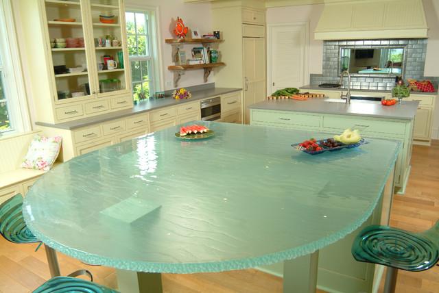 Island Glass Countertop Contemporary Kitchen
