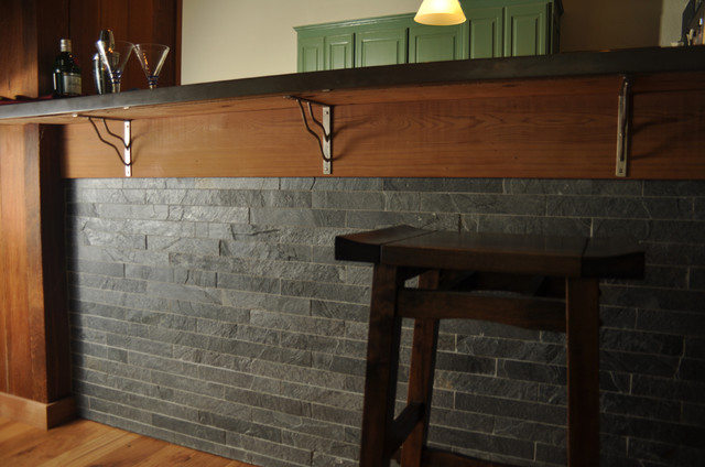 Island Stone Java Grey Kitchen with Silver quartzitic slate bar modern