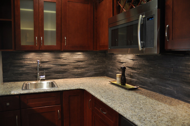 Kitchen Backsplash Stone island stone rustic himachal black backsplash - modern - kitchen