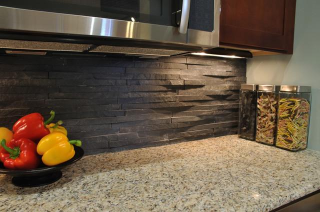 Modern Kitchen Stone Backsplash island stone rustic himachal black backsplash - modern - kitchen