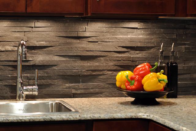 Island Stone Rustic Himachal Black backsplash - Modern - Kitchen ...