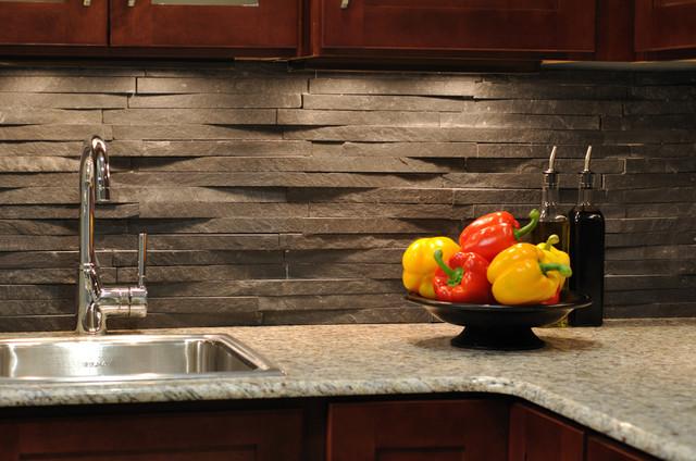Island Stone Rustic Himachal Black Backsplash Modern Kitchen