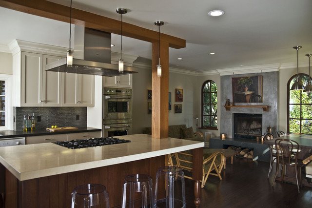 Island with cabinets and backsplash in background - Modern - Kitchen ...