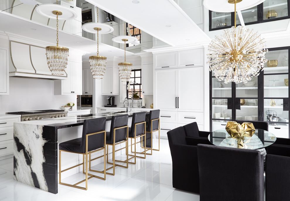 Example of a large transitional white floor eat-in kitchen design in Toronto with shaker cabinets, stainless steel appliances, an island, white cabinets and white backsplash