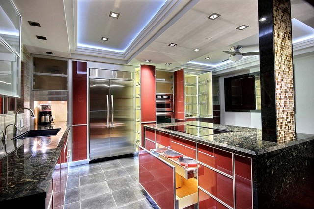 Italian-inspired red glass kitchen contemporary-kitchen