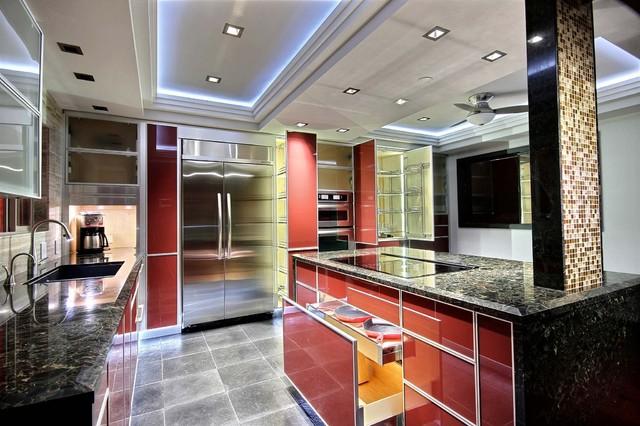Italian-inspired red glass kitchen modern-kitchen