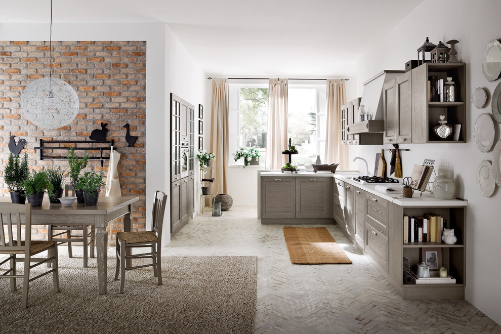 Eat-in kitchen - contemporary brick floor eat-in kitchen idea in Miami with gray cabinets