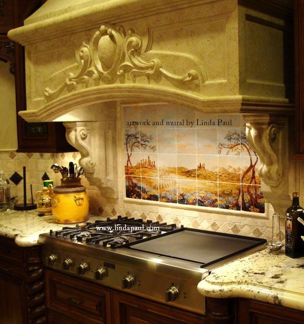 Italian Kitchens   Tuscan Kitchen Tile Mural Backsplash By Linda Paul  Mediterranean Kitchen