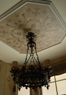 Italian Ornament Design for a Breakfast Room Ceiling, Stemming from Chandelier traditional kitchen