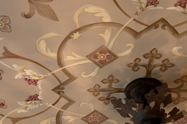Italian Ornament Design for a Breakfast Room Ceiling, Stemming from Chandelier traditional-kitchen