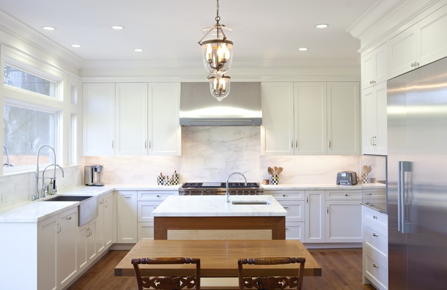 Traditional U Shaped Enclosed Kitchen Idea In San Francisco With Shaker Cabinets Stainless Steel
