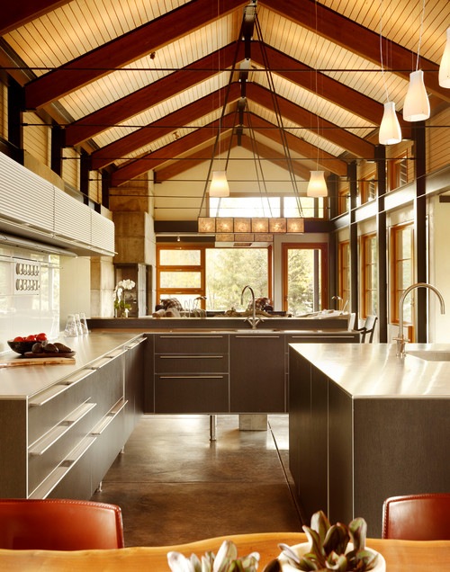 Is the ceiling just a tongue and groove wood material with beams?