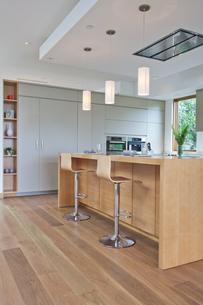 Example of a trendy kitchen design in Los Angeles with flat-panel cabinets and green cabinets