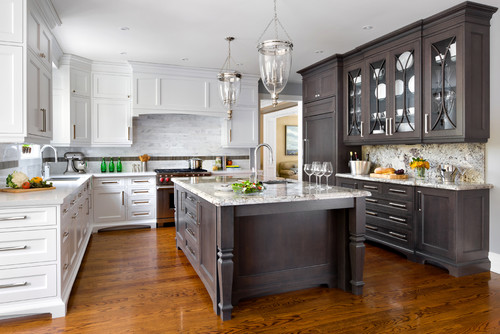 Dark Wood Shaker Style Kitchen Cabinets Provide The Perfect Contrast To White In This Traditional