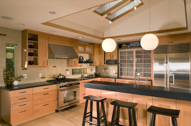 Japanese style kitchen with skylights asian kitchen for Asian kitchen cabinets design