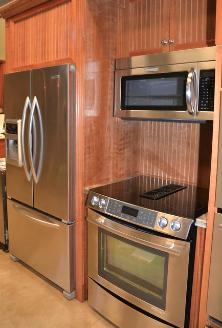Jenn Air Down Draft Range Oven And Otr Microwave Transitional Kitchen