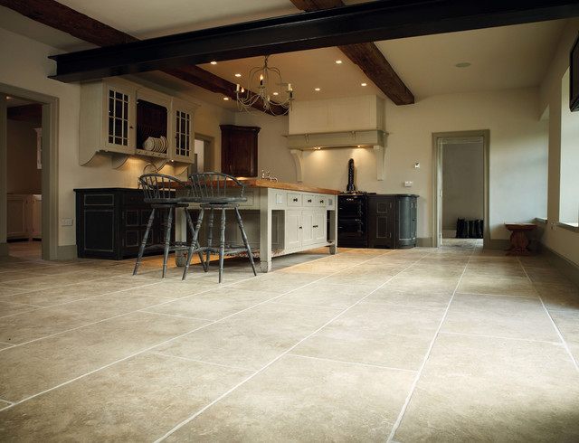 Great Jerusalem Grey Gold Large Opus Limestone Floor With Tuscany Finish  Traditional Kitchen