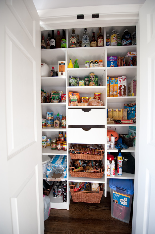Kitchen pantry - traditional kitchen pantry idea in Atlanta with open cabinets and white cabinets
