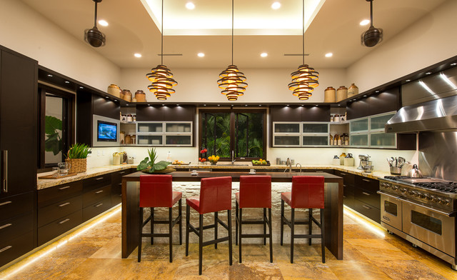 4 tags Tropical Kitchen with Stone Tile, High ceiling, Limestone Tile,  Simple granite counters,