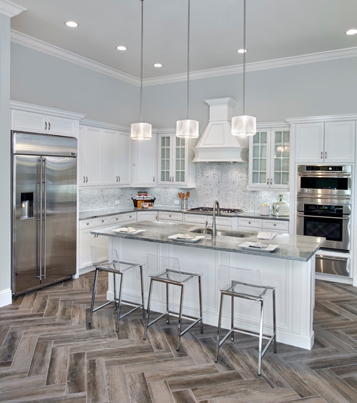 White Kitchen Cabinets Tile Floor: Wood Look Tile Floor White Kitchen Cabinet Designs