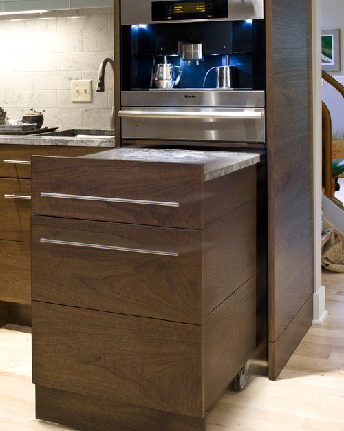 Not Enough Room In Your Kitchen For A Separate Recessed Nook Take Advantage Of Cabinet E To Incorporate Pull Out Countertops And Cutting Boards
