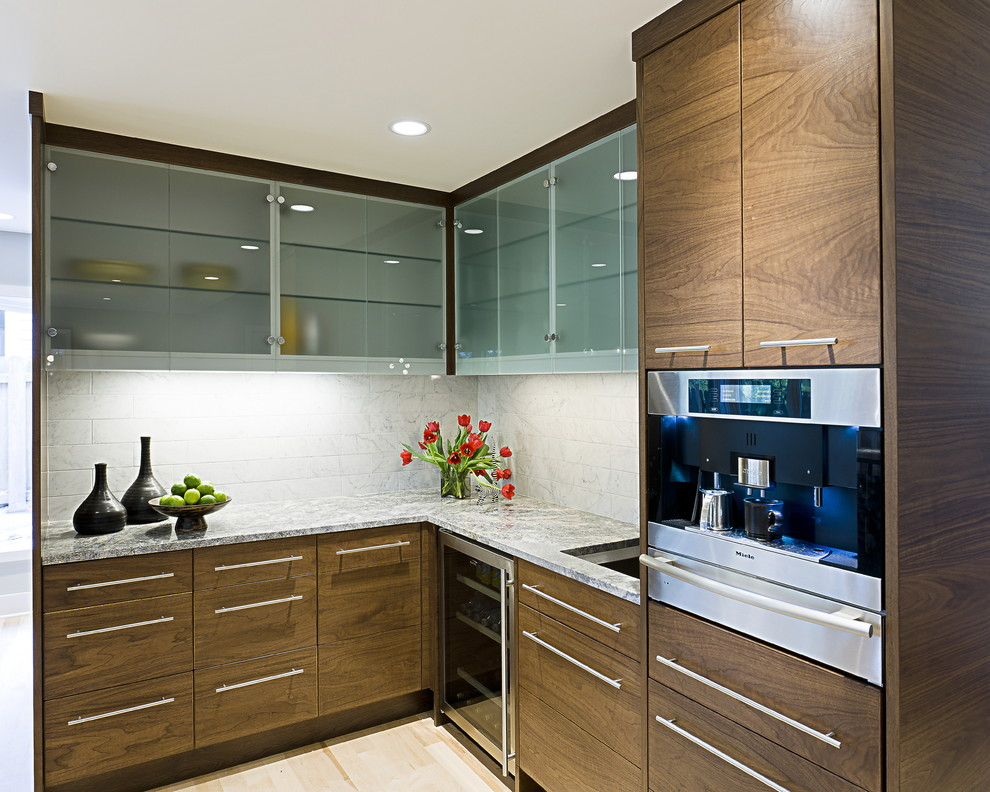 Inspiration for a contemporary kitchen remodel in Minneapolis with granite countertops