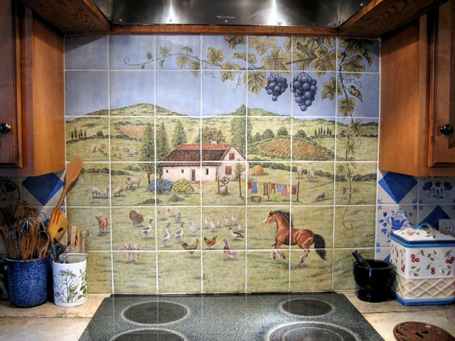 Julia 39 s european style country kitchen hungarian farm for Traditional kitchen wall tiles