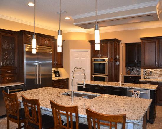 U Shaped Kitchen Kitchen Design Ideas Remodels Photos With Matchstick Tile Backsplash Dark