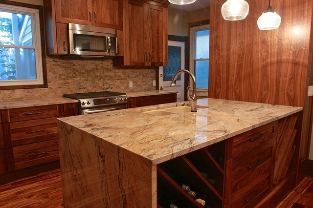 Juperana Exotica Granite with Split-Face tile - Traditional - Kitchen - calgary - by La Mode ...