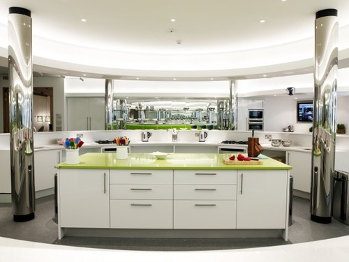 This modern kitchen features Silestone Quartz in Green Fun