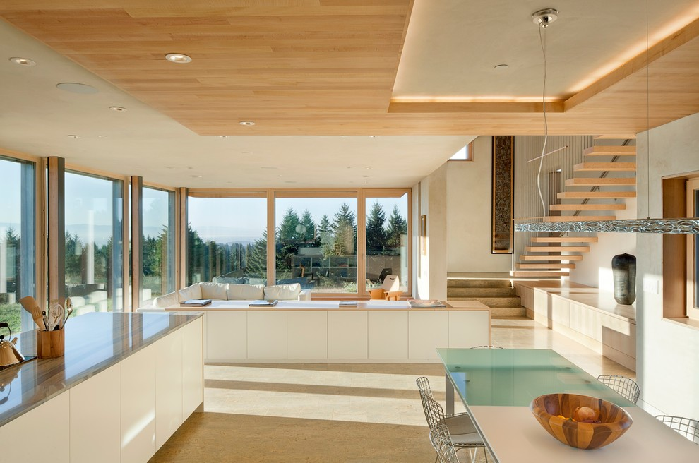 Kitchen - contemporary kitchen idea in Portland with flat-panel cabinets and white cabinets