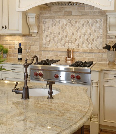 Kashmir gold granite counterops traditional kitchen for Kitchen designs in kashmir