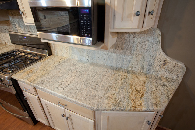 Kashmir Gold Granite in an log cabin in Owings, MD traditional-kitchen