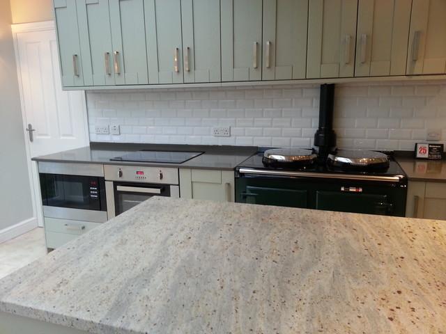 Lovely Kashmir White Granite Island, Altair Quartz Worktops Contemporary Kitchen