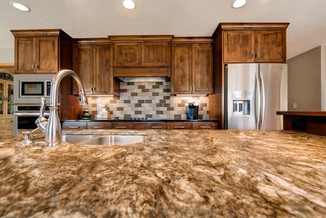 Kayrus Granite Island Top Transitional Kitchen Minneapolis By Dovetail Kitchen Designs