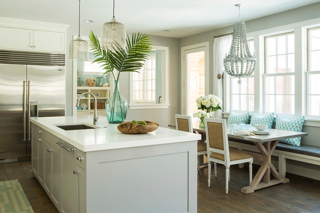 Coastal eat-in kitchen photo in Minneapolis with shaker cabinets, gray cabinets and stainless steel appliances