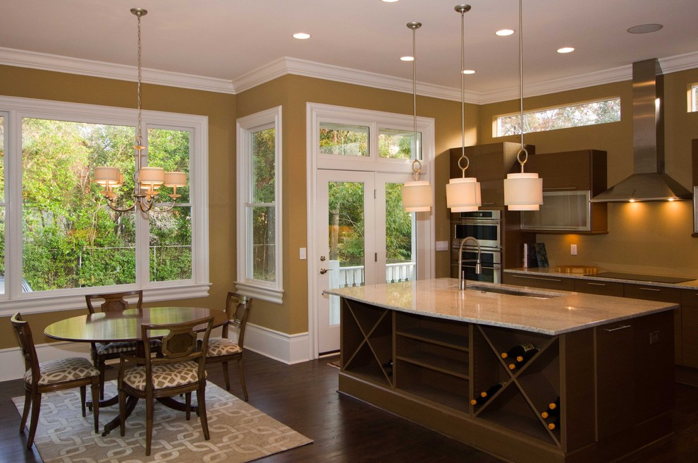 Kitchen - contemporary kitchen idea in Other with flat-panel cabinets, dark wood cabinets and stainless steel appliances