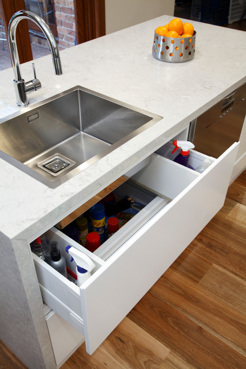 Under sink storage removes clutter around kitchen sink